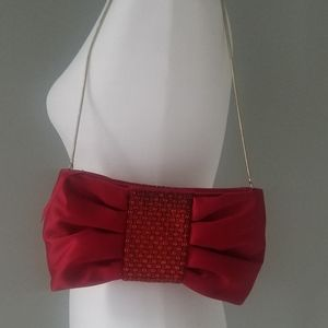 Banana Republic Red Bow Party Satin Clutch